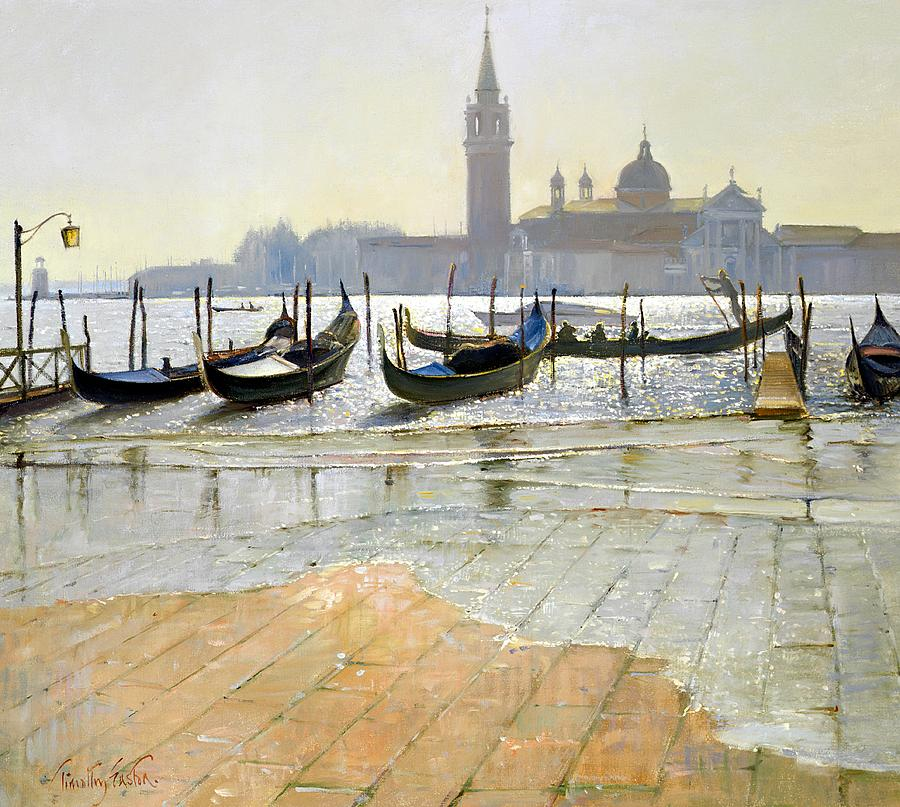 Gondola; Canal; San Giorgio Maggiore; Sunrise; Flooding; Flooded; Landscape Painting - Venice At Dawn by Timothy Easton