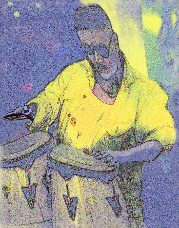 Drummer Digital Art - Venice Beach Drummer by Alice Ramirez