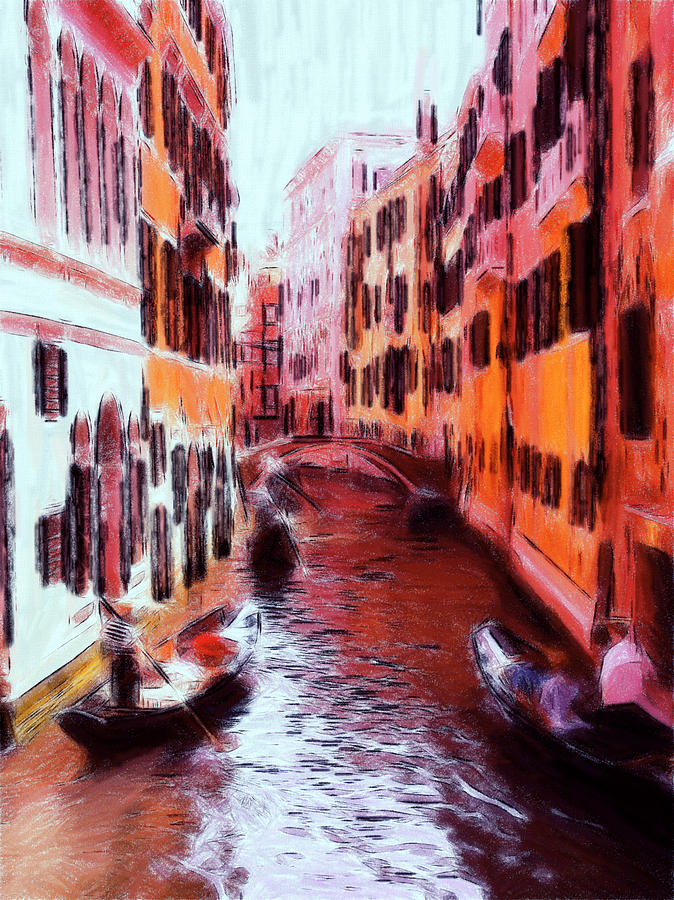 Venice Canal Abstract Water Romantic Love Boat Magic Gondola Romance Bridge Pastel - Venice By Gondola by Steve K