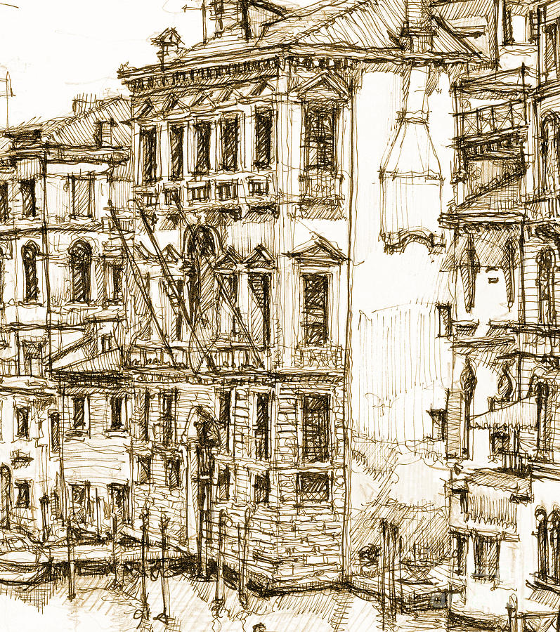 Venice Drawing - Venice Canals Detail 1 by Adendorff Design