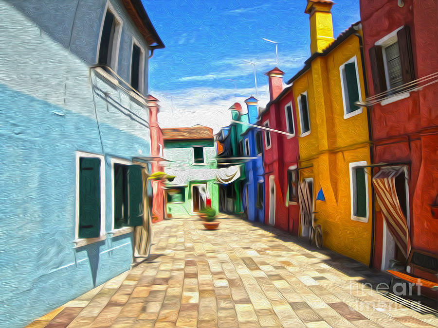 Venice Italy Painting - Venice Italy - Burano Island Alley by Gregory Dyer