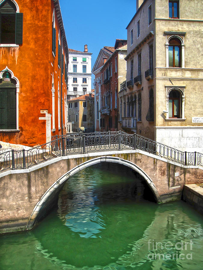Venice Italy Painting - Venice Italy - Canal Bridge by Gregory Dyer