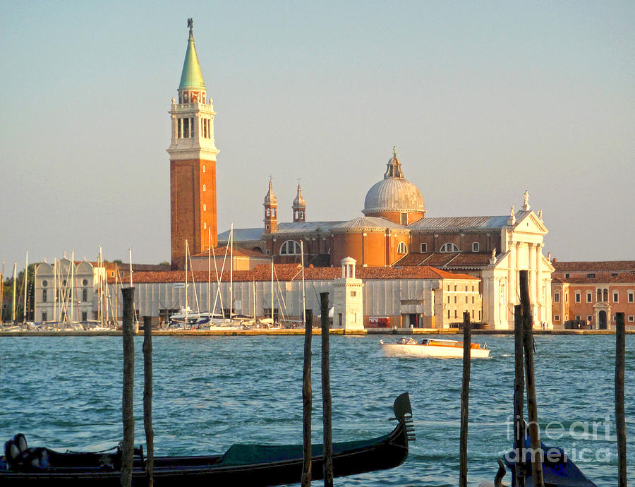 Venice Italy Painting - Venice Italy - San Giorgio Maggiore Island And Gondolas by Gregory Dyer