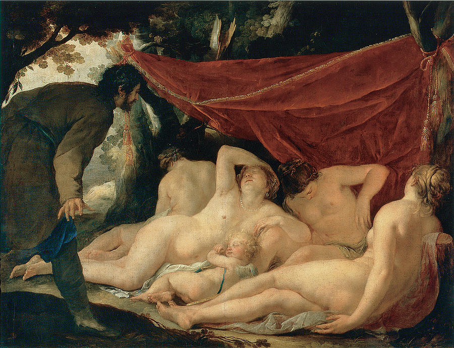 Jacques Blanchard Painting - Venus And The Graces Surprised By A Mortal by Jacques Blanchard