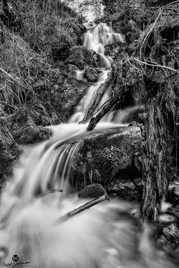 Black N White Photograph - Vertical Falls Bw by Mitch Johanson