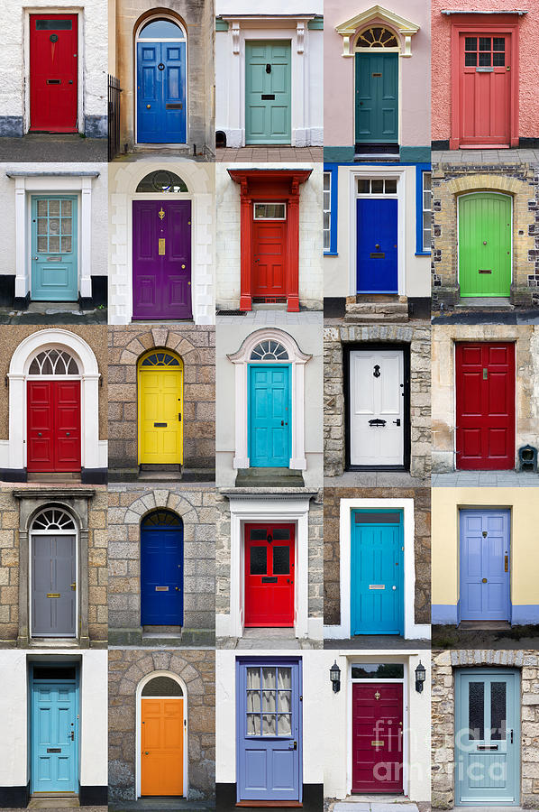 Vertical Photo Collage Of 25 Front Doors Photograph By