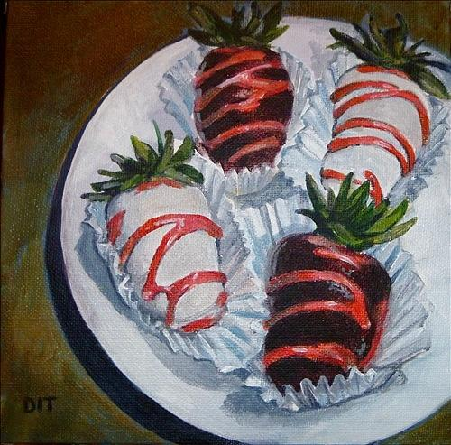 Chocolate Covered Strawberries Painting - Very Berries by Denise Ivey Telep