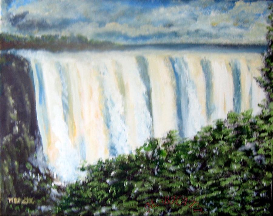Waterfall Painting - Victoria Falls by M Bhatt