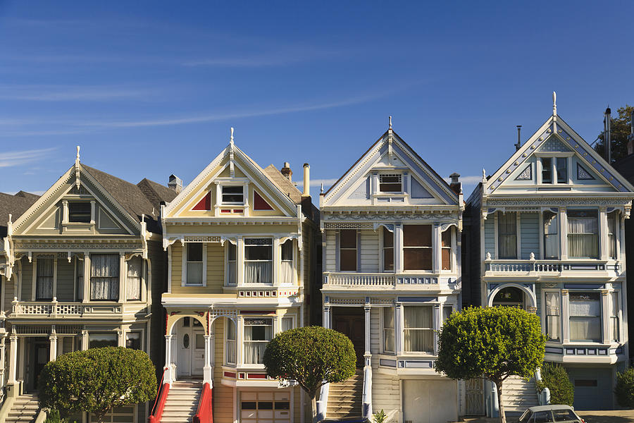 Victorian style homes near alamo square photograph by for Victorian style house