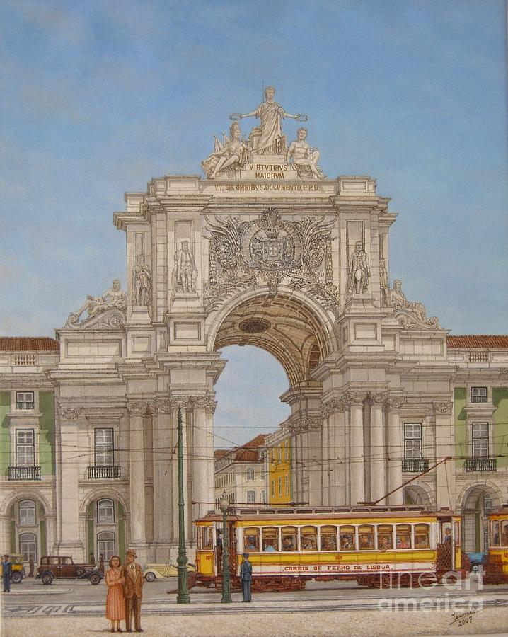 Tram Painting - Victory Ach Lisbon - Arco Da Vitoria Lisboa by Carlos De Vasconcelos Tavares