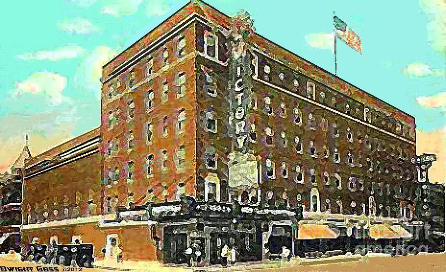 Theaters Painting - Victory Theatre And Hotel Sonntag In Evansville In 1920 by Dwight Goss