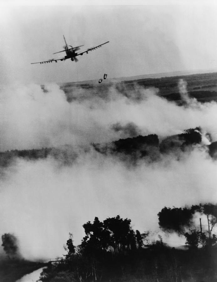 Vietnam War Bombing. Two Bombs Fall Photograph by Everett  Vietnam War Bom...