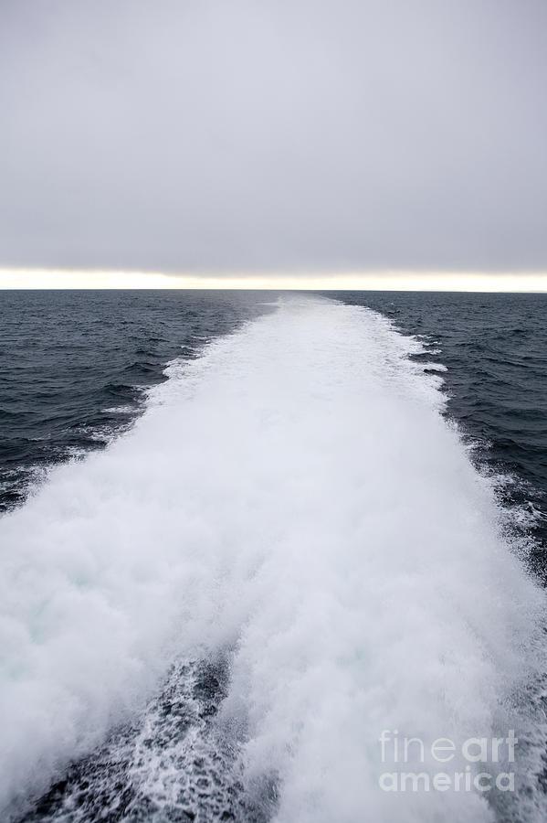 Bleak Photograph - View From Back Of Ferry, Strait Of Juan De Fuca, Washington by Paul Edmondson