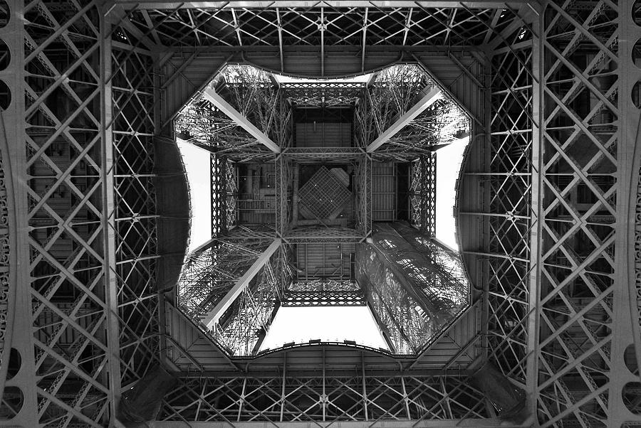 View From Beneath the Eiffel Tower in Black and White ...