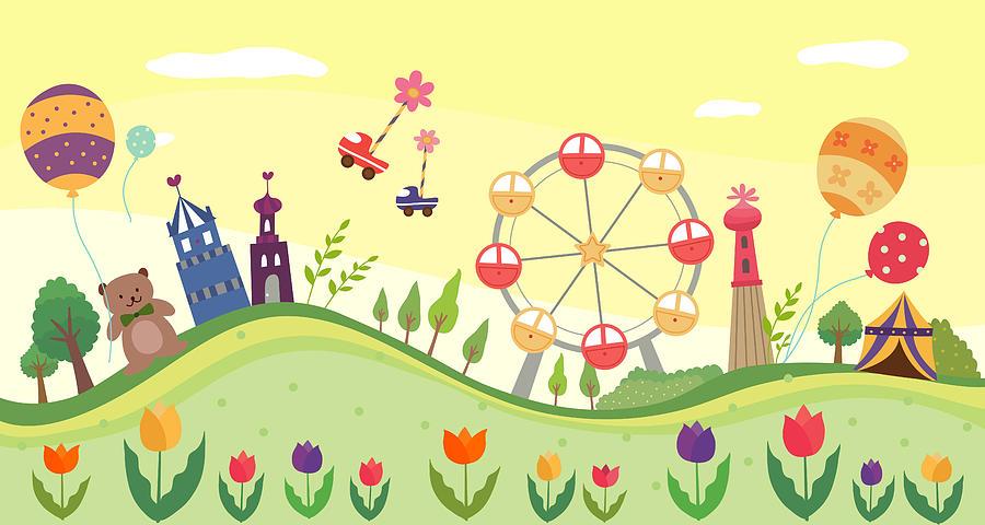 View Of Amusement Park Digital Art By Eastnine Inc