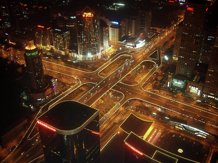 Horizontal Photograph - View Of Cityscape At Night by Philip M Walker