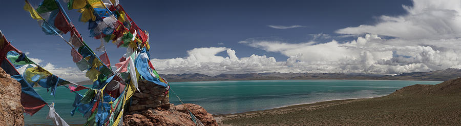 Spirituality Photograph - View Of Freshwater Lake Manasarovar by Phil Borges