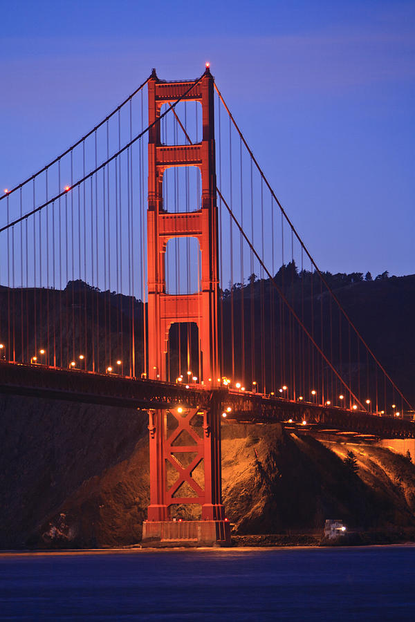 Bridge Photograph - View Of Golden Gate Bridge At Dusk San by Stuart Westmorland