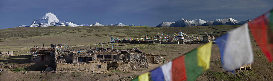Worshipper Photograph - View Of Mount Kailash From Chiu by Phil Borges