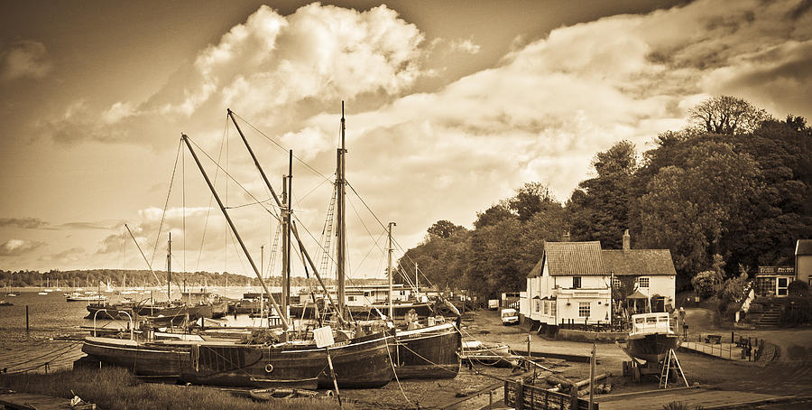 Pin Mill Photograph - View Of Pin Mill From Kings Yard Sepia by Gary Eason