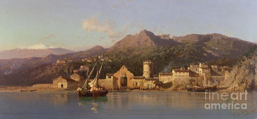 View Of Taormina Painting - View Of Taormina Sicily by Alessandro la Volpe