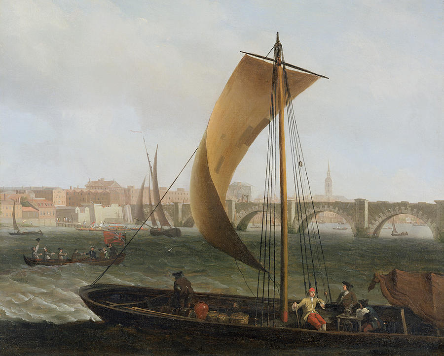 View Painting - View On The Thames With Westminster Bridge by Samuel Scott