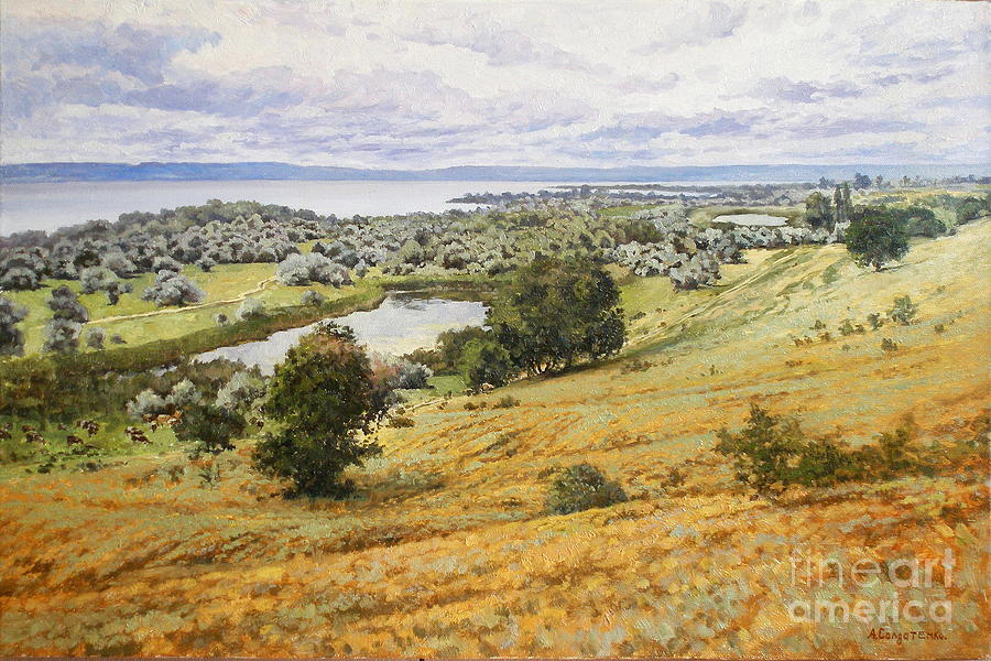 Landscape Painting - View On The Volga by Andrey Soldatenko
