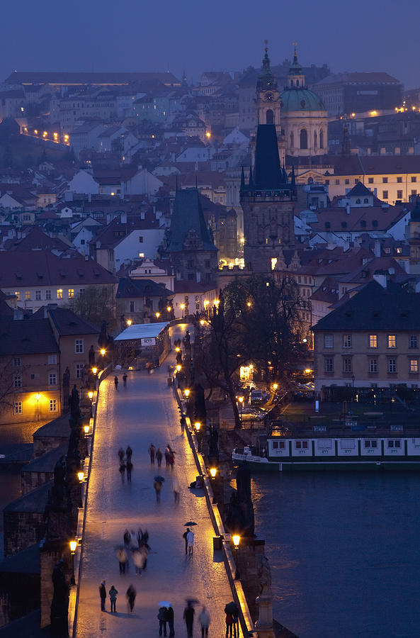 Prague Photograph - View Over The Charles Bridge Towards by Axiom Photographic