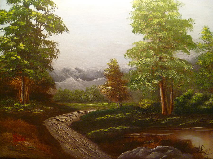 Landscape Painting - View To The Mountains by Marie Dulny