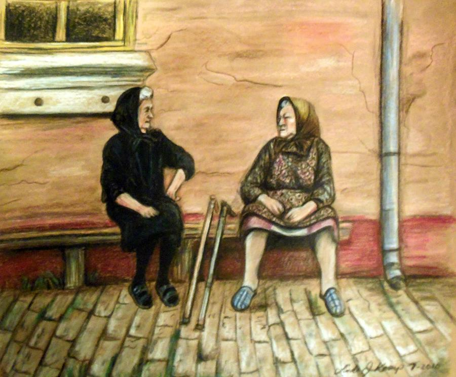 Old Women Drawing - Village Gossip by Linda Nielsen