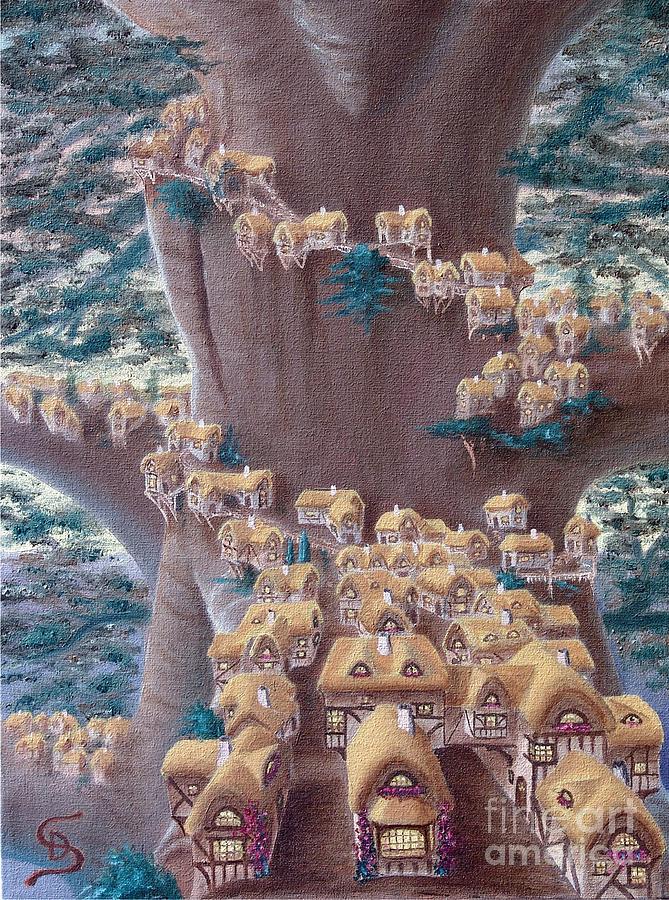 Village Painting - Village In A Tree From Arboregal by Dumitru Sandru