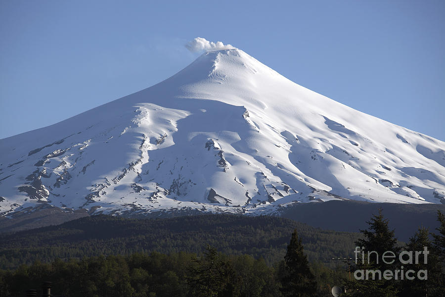 No People Photograph - Villarrica, Steaming Crater, Araucania by Martin Rietze