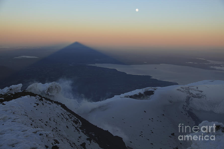 No People Photograph - Villarrica, Summit View With Shadow by Martin Rietze