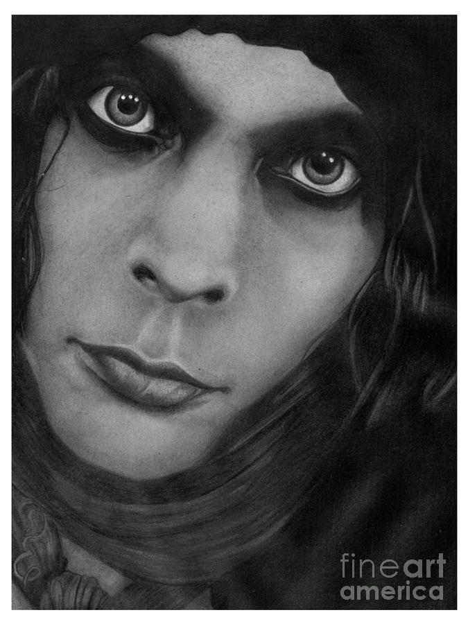 Ville Valo 10 Pencil Drawing by Debbie Engel