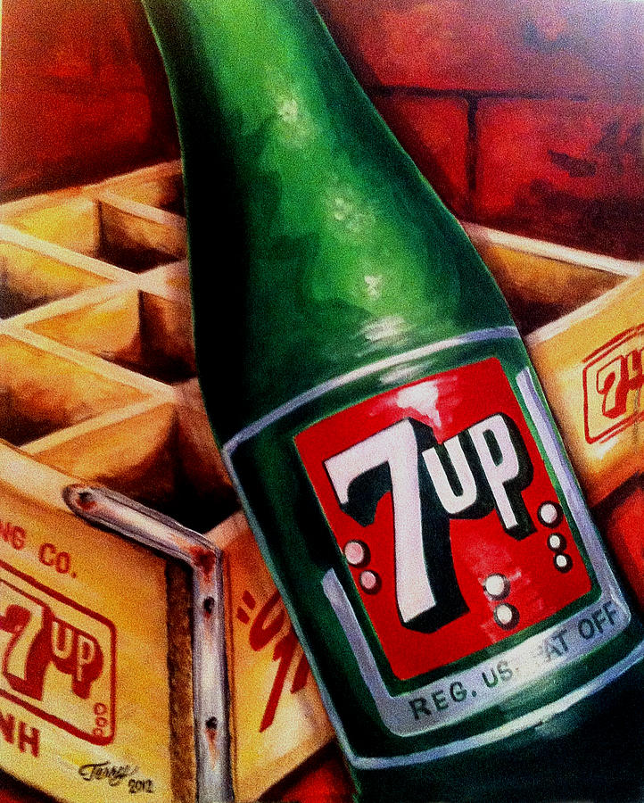 7-up Painting - Vintage 7up Bottle by Terry J Marks Sr