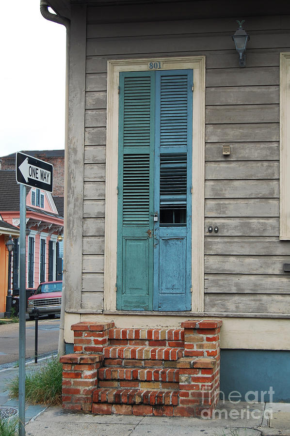 Big Easy Photograph - Vintage Aged Dual Color Slatted Wooden Door And Brick Stoop French Quarter & Vintage Aged Dual Color Slatted Wooden Door And Brick Stoop French ... pezcame.com