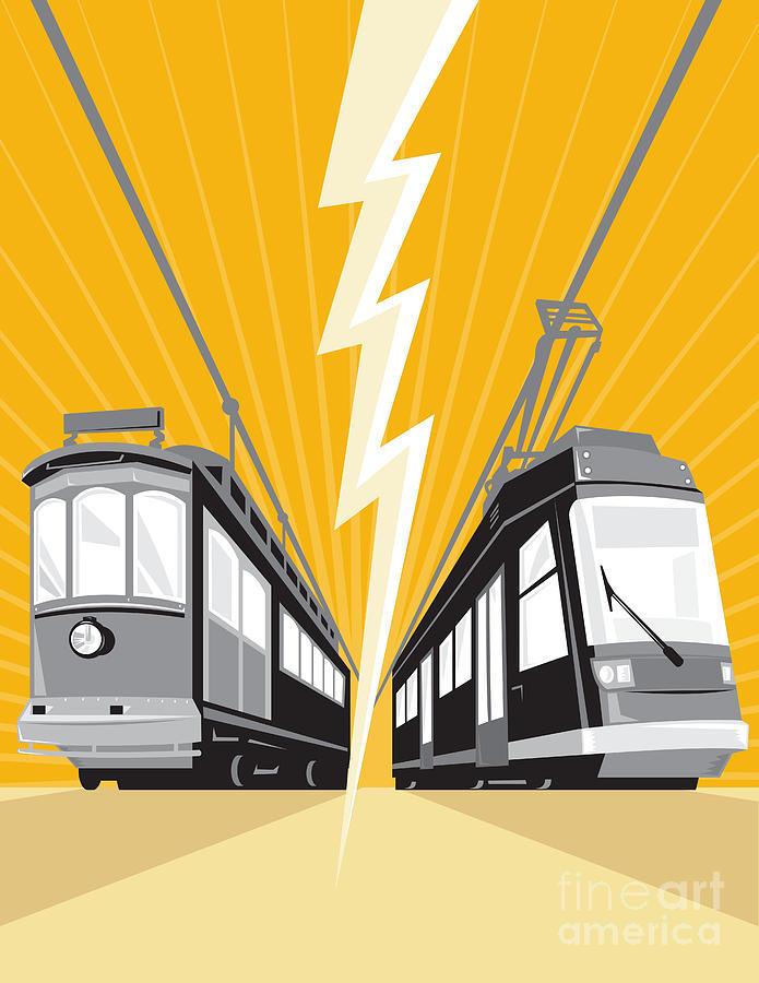 Streetcar Digital Art - Vintage And Modern Streetcar Tram Train by Aloysius Patrimonio