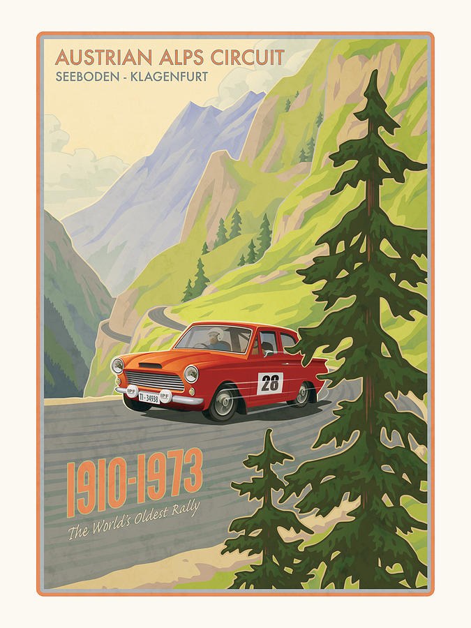 Rally Digital Art - Vintage Austrian Rally Poster by Mitch Frey