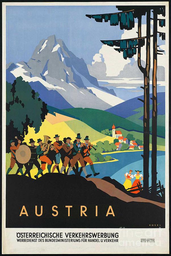 Austria Photograph - Vintage Austrian Travel Poster by George Pedro