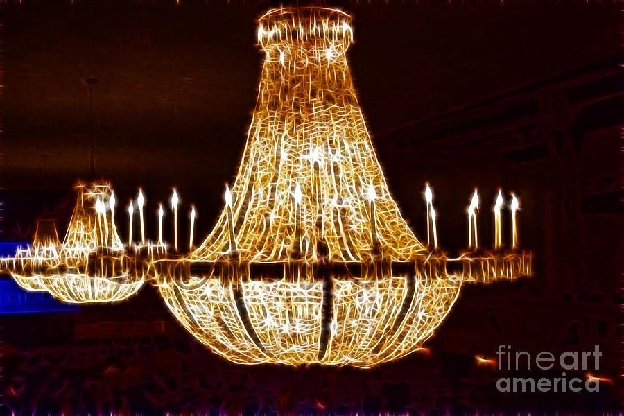 Chandalier Photograph - Vintage Ballroom Chandalier Fractal by Darleen Stry