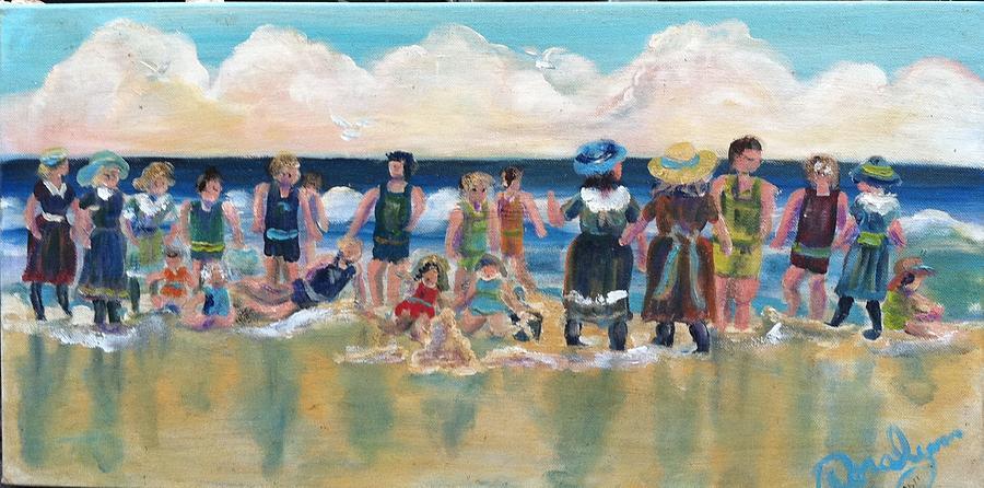 Beach Painting - Vintage Bathers by Doralynn Lowe