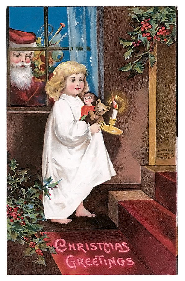 Child Painting - Vintage Christmas Greetings by Unknown