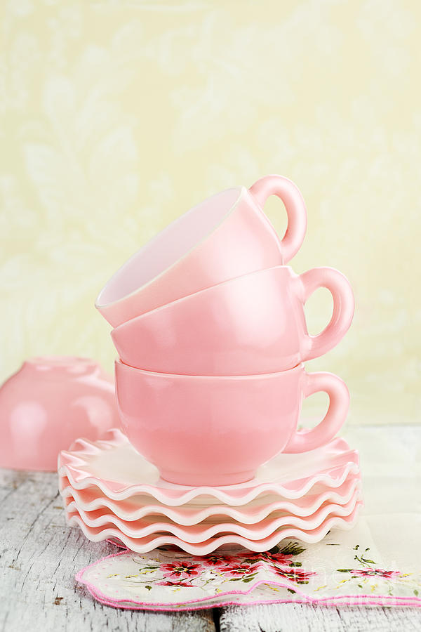 Antique Photograph - Vintage Coffee Cups by Stephanie Frey