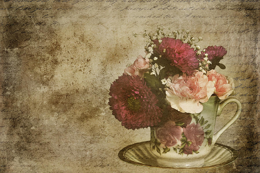 Vintage Flowers Part - 42: Vintage Mixed Media - Vintage Cup Of Flowers By Trudy Wilkerson
