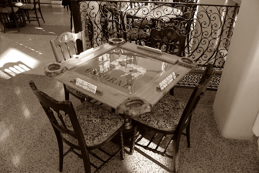 Dominoes Photograph - Vintage Domino Table by David Lee Thompson