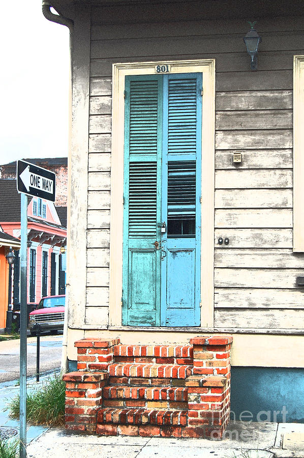 Vintage Dual Color Wooden Door And Brick Stoop French Quarter New