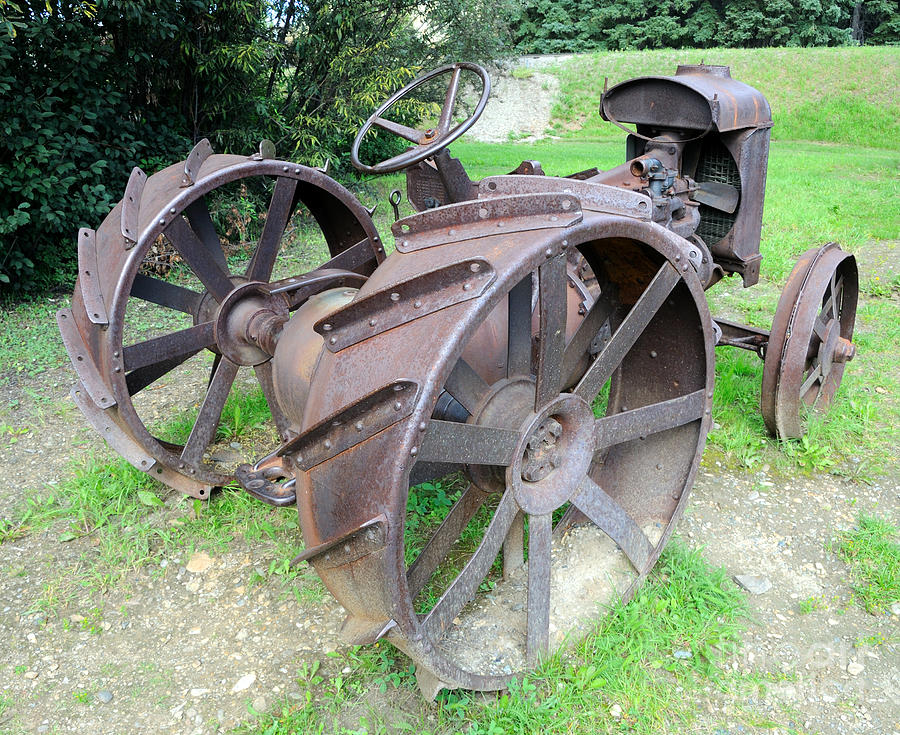 Old Metal Wheels With Tractor : Vintage farm tractor photograph by gary whitton