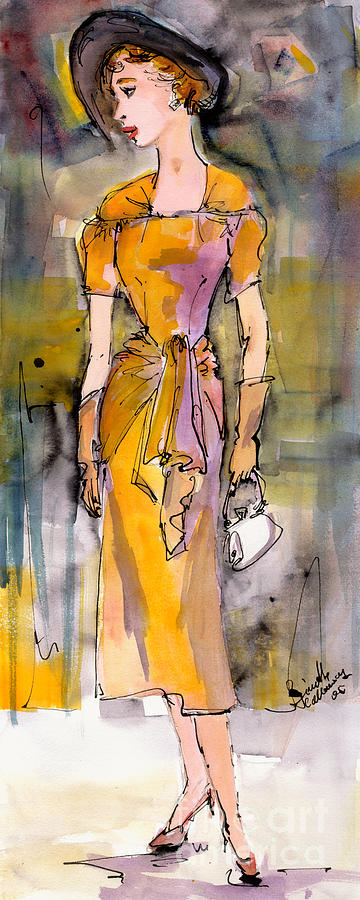 Fashion Painting - Vintage Fashion Girl In A Black Hat  by Ginette Callaway