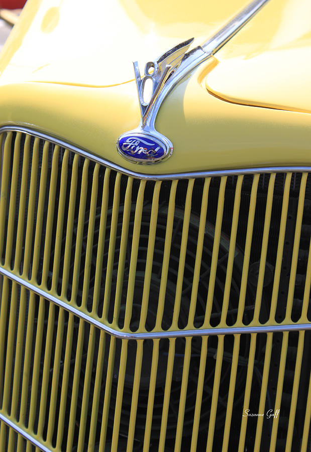 Close Up Photograph - Vintage Ford V8 Grill by Suzanne Gaff
