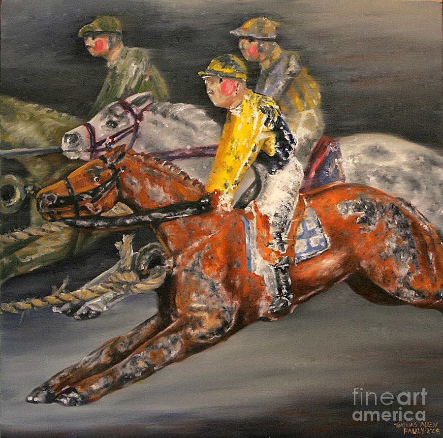 Toys For Painting : Vintage horse racing toys painting by thomas allen pauly